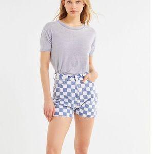 (UO) ZGY DENIM Hi Mum Checkered Short (NWT)